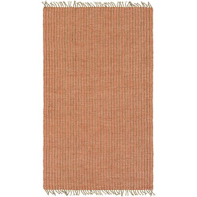 Ivyland Hand-Woven Coral/Khaki Area Rug Rug size: Rectangle 8 x 10