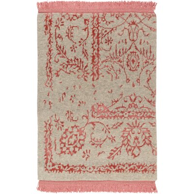 Clarke Hand-Knotted Coral/Khaki Area Rug Rug size: 4 x 6