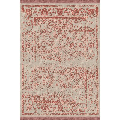 Marwan Hand-Knotted Coral/Khaki Area Rug Rug size: Rectangle 6 x 9