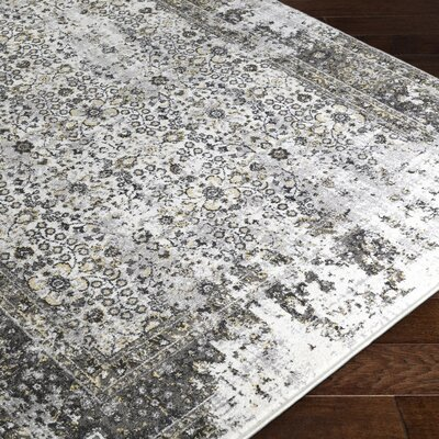 Coventry Black/Gray Area Rug Rug Size: 53 x 76