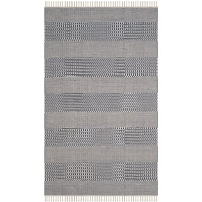 Jermyn Hand-Woven Ivory/Navy Area Rug Rug Size: Rectangle 5 x 8