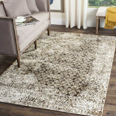 Ornella Hand-Loomed Ivory/Light Brown Area Rug Rug Size: 6 x 9
