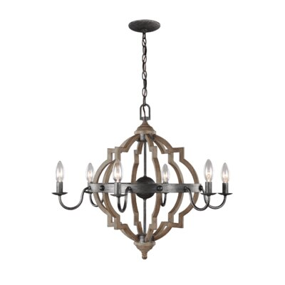 Donna 6-Light Candle-Style Chandelier Size: 31.25 H x 40 W x 40 D