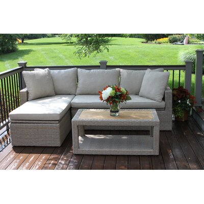 Dillon Teak and Wicker 3 Piece Deep Seating Group with Cushion