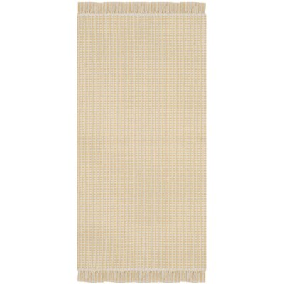 Oxbow Hand-Woven Ivory/Yellow Area Rug Rug Size: Square 6