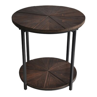 Dalton Gardens Round Metal and Rustic Wood End Table