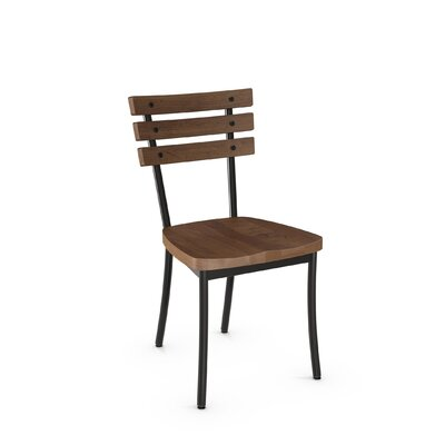 Dillard Solid Wood Dining Chair Finish: Gun Metal Finish/Medium Brown Wood