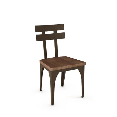 Dearing Solid Wood Dining Chair Finish: Hammered Medium Brown Metal/Medium Brown Wood