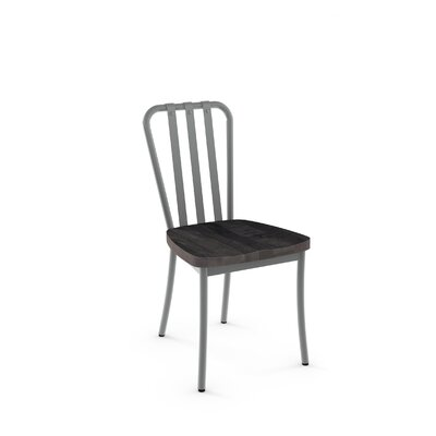 Eila Solid Wood Dining Chair Finish: Glossy Grey Metal/Medium Dark Gray Wood