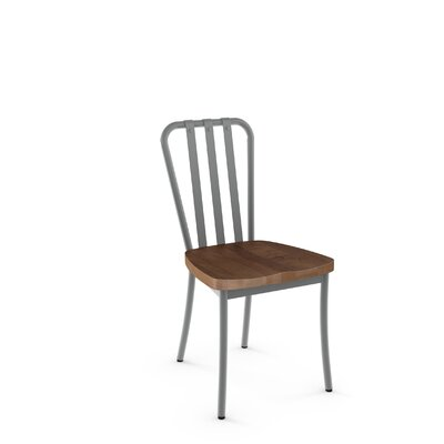 Eila Solid Wood Dining Chair Finish: Glossy Grey Metal/Medium Brown Wood