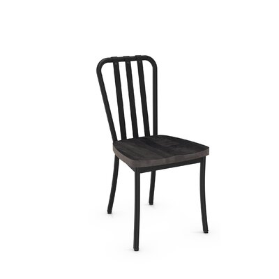 Eila Solid Wood Dining Chair Finish: Textured Black Metal/Medium Dark Gray Wood