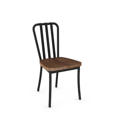 Eila Solid Wood Dining Chair Finish: Textured Black Metal/Medium Brown Wood