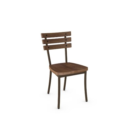 Dillard Solid Wood Dining Chair Finish: Hammered Medium Brown Metal/Medium Brown Wood