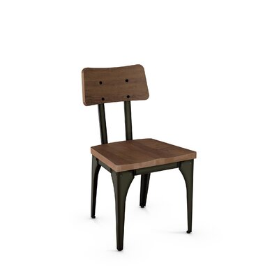 Ellenton Solid Wood Dining Chair Finish: Gun Metal Finish/Medium Brown Wood