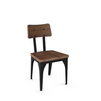 Ellenton Solid Wood Dining Chair Finish: Textured Black Metal/Medium Brown Wood