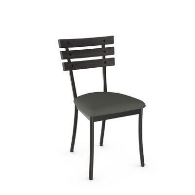 Irwin Solid Wood Dining Chair Finish: Gun Metal Finish/Dark Gray Wood/Gray Fabric