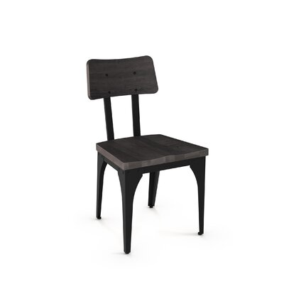 Ellenton Solid Wood Dining Chair Finish: Textured Black Metal/Medium Dark Gray Wood