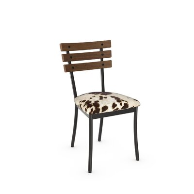 Irwin Solid Wood Dining Chair Color: Gun Metal Finish/Brown Wood, Upholstery: Faux Cowhide Fabric