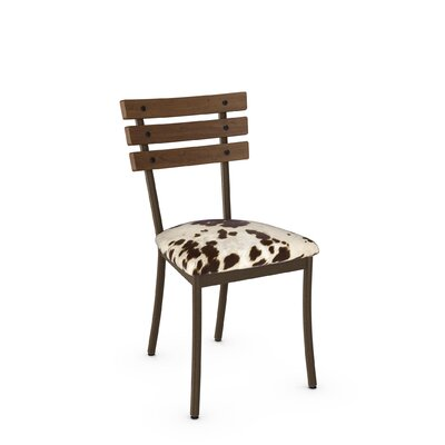 Irwin Solid Wood Dining Chair Finish: Hammered Brown/Brown Wood/Faux Cowhide Fabric