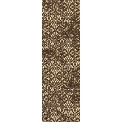 Kulpmont Floral and Plant Dark Brown Area Rug Rug size: Runner 22 x 76