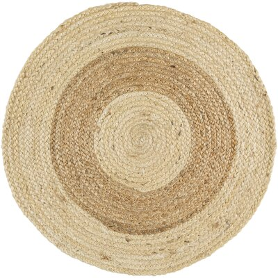 Koppel Hand-Woven Wheat/Cream Area Rug Rug size: Round 3