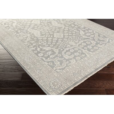 Karlee Hand-Knotted Medium Gray Area Rug Rug size: 9 x 13