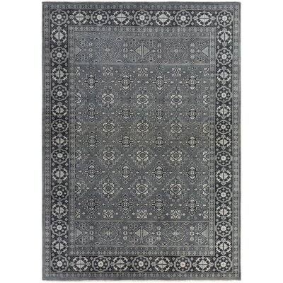 Karlee Hand-Knotted Black Area Rug Rug size: 36 x 56