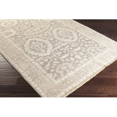 Karlee Hand-Knotted Khaki Area Rug Rug size: Rectangle 36 x 56