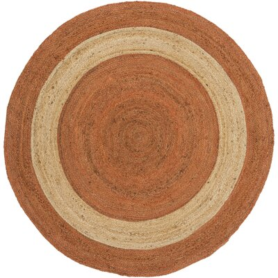 Koppel Hand-Woven Bright Orange Area Rug Rug size: Round 5