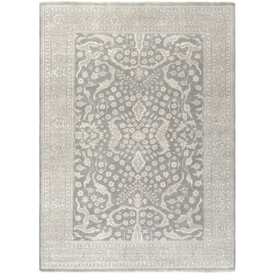 Karlee Hand-Knotted Gray/Green Area Rug Rug Size: 10 x 14