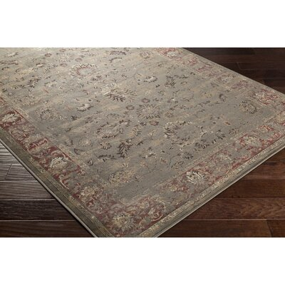 Jeddo Gray/Red Area Rug Rug Size: Rectangle 53 x 76