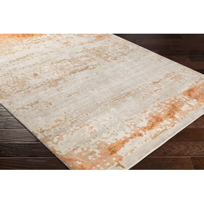 Kimberly Hand-Knotted Beige/Orange Area Rug Rug Size: 6 x 9