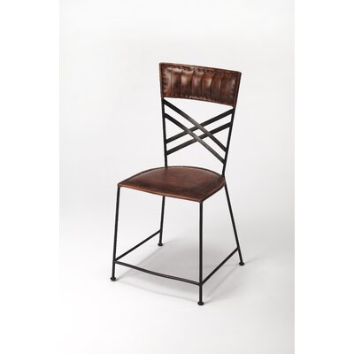 Mahika Genuine Leather Upholstered Dining Chair