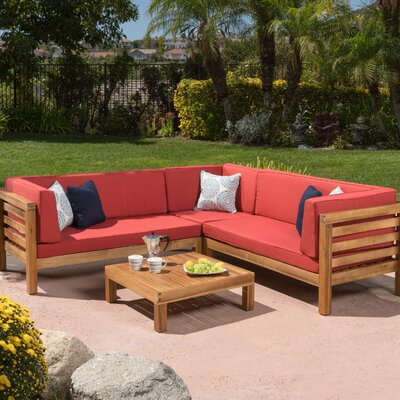 Birdsboro 4 Piece Sectional Seating Group With Cushion Fabric: Red