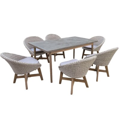 Youssoufia 7 Piece Dining Set with Cushions