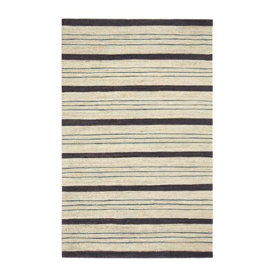 Griswold Hand-Woven Beige/Black Area Rug Rug Size: 5 x 7