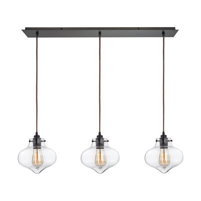 Vrinda 3-Light Glass Shade Kitchen Island Pendant