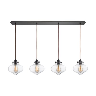 Vrinda 4-Light Glass Shade Kitchen Island Pendant