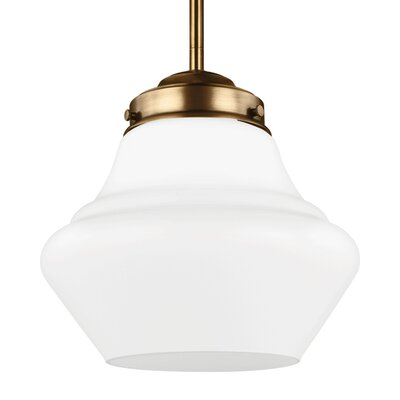 Ezra 1-Light Schoolhouse Pendant Finish: Aged Brass, Size: 11.62 H x 12 W x 12 D