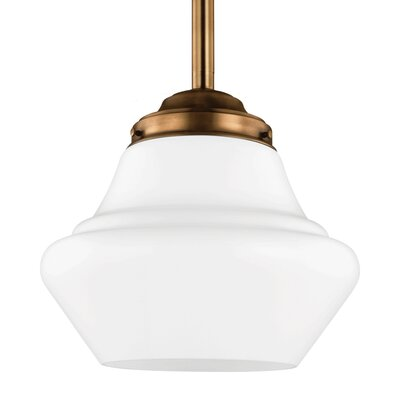 Varun Metal Schoolhouse Pendant Finish: Satin Nickel, Size: 9.88 H x 10 W x 10 D