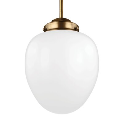Ezra 1-Light Mini Pendant Size: 17.25 H x 12.5 W x 12.5 D, Finish: Aged Brass