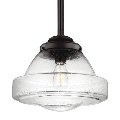 Varun 1-Light 75W Metal Schoolhouse Pendant Finish: Aged Brass, Size: 11.75 H x 13.88 W x 13.88 D
