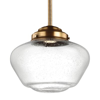 Varun 1-Light 75W Schoolhouse Pendant Finish: Satin Nickel, Size: 10.75 H x 12 W x 12 D