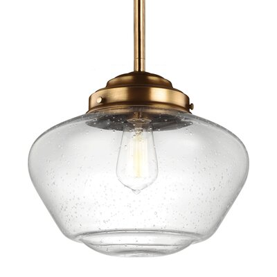 Varun 1 LED Integrated Bulb Metal Schoolhouse Pendant Finish: Aged Brass, Size: 9.12