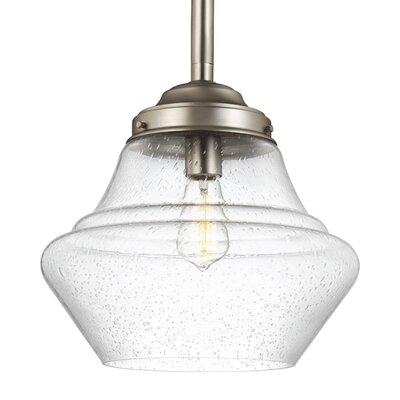 Ezra 1 LED Integrated Bulb Schoolhouse Pendant Finish: Aged Brass, Size: 9.88 H x 10 W x 10 D