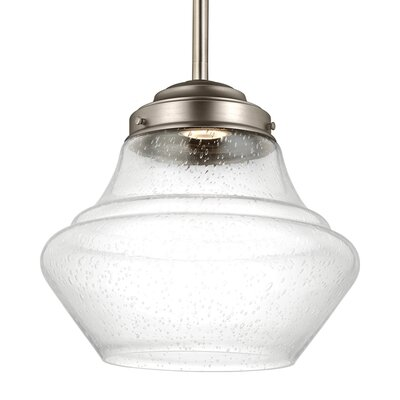 Ezra 1-Light Schoolhouse Pendant Finish: Aged Brass