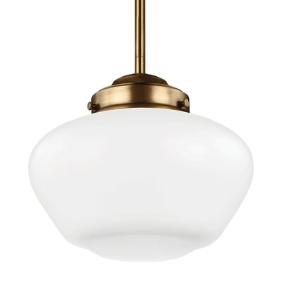 Ezra Schoolhouse Pendant Finish: Satin Nickel, Size: 9.12 H x 10 W x 10 D