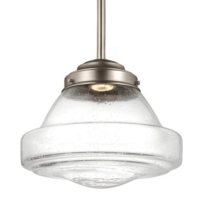 Varun 1-Light 75W Metal Schoolhouse Pendant Finish: Satin Nickel, Size: 10.25 H x 12 W x 12 D