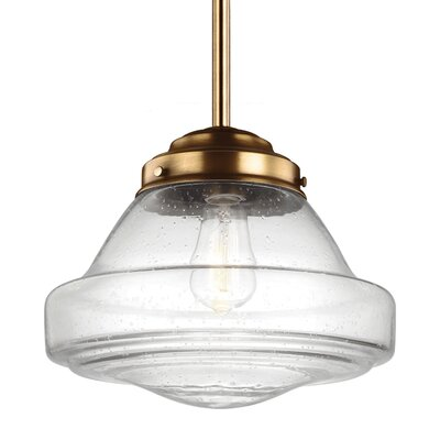 Varun 1-Light 75W Metal Schoolhouse Pendant Finish: Aged Brass, Size: 10.25 H x 12 W x 12 D