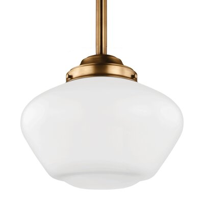 Varun 14W Schoolhouse Pendant Finish: Satin Nickel, Size: 12.25 H x 13.88 W x 13.88 D